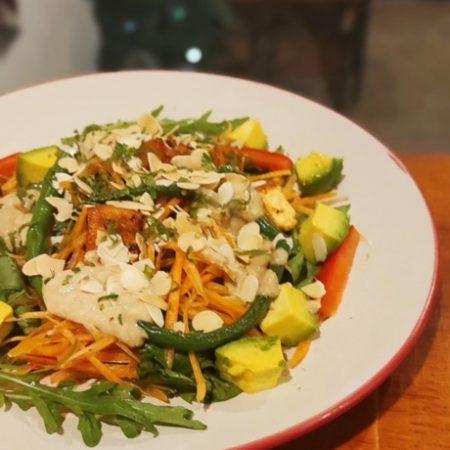 Three nut spinach rocket salad
