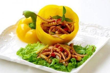 Ớt chuông xào mực sa tế - Santorino coffee & Veggies Healthy Lifestyles