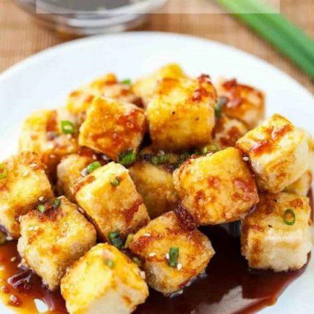 Crispy Onion Teriyaki Tofu