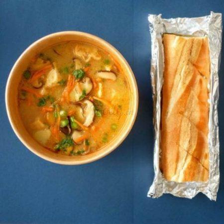 Parmesan Veggies Soup & Baguette