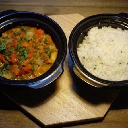 Tamarind Tofu served with rice