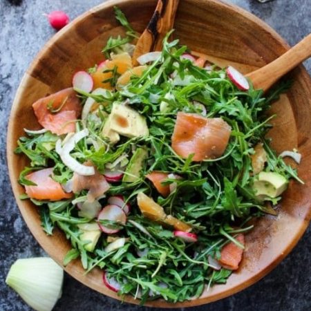 Santorino coffee & Veggies Healthy Lifestyles - Salad cá hồi xông khói với lá rocket