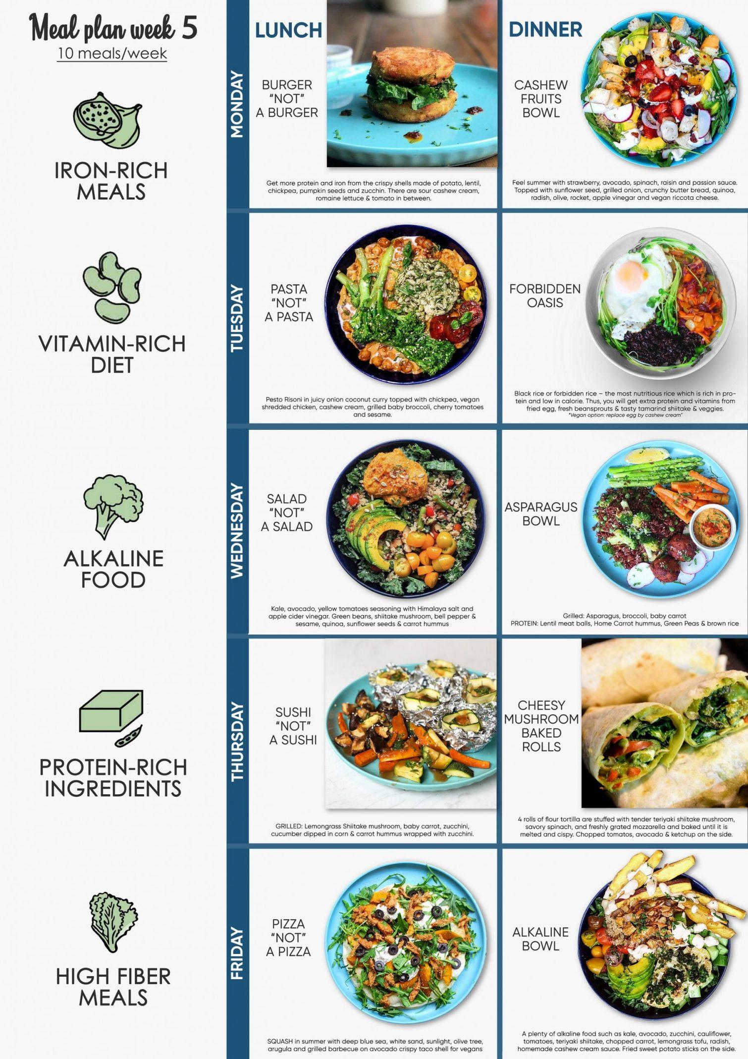 Santorino Vegetarian vegan meal-plan week 5