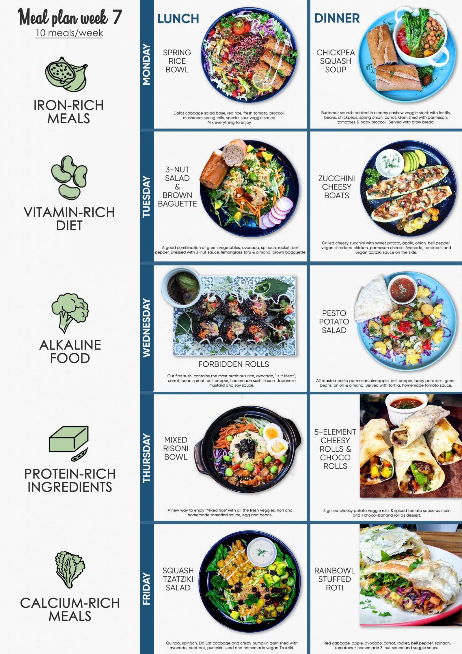 vegetarian Meal plan bua an theo tuan