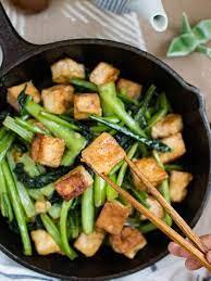 choy sum with garlic tofu